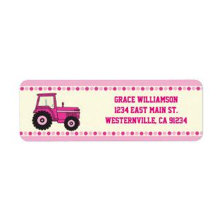 Pink Girl Tractor Return Address Labels