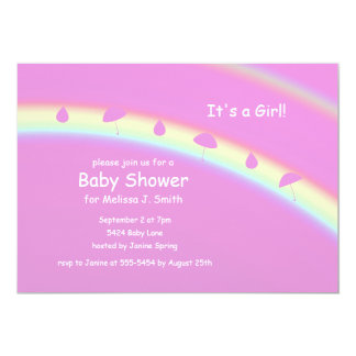 Pink Girl Umbrellas and Drops Baby Shower Card