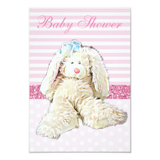 Pink Girl Vintage Bunny Baby Shower Invitation