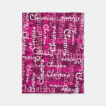 Pink Girl's Allover Name Collage Personalized Fleece Blanket