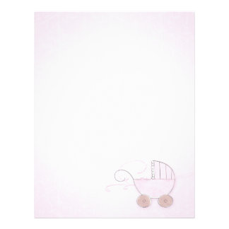 Pink Girl's Baby Carriage Letterhead