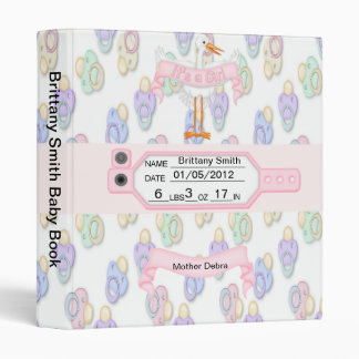 Pink Girls Baby Keepsake Book 3 Ring Binder