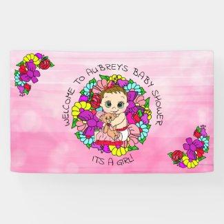 Pink Girl's Baby Shower Caucasian Baby Whimsical Banner