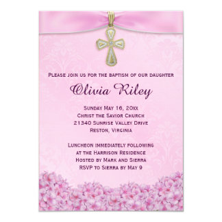 Pink Girls Baptism Christening Invitation