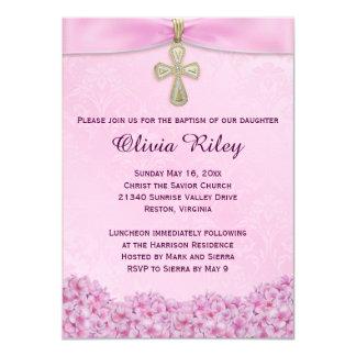 Pink Girls Baptism Christening Invitation