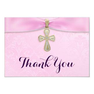 Pink Girls Baptism Christening Thank You 3.5x5 Paper Invitation Card