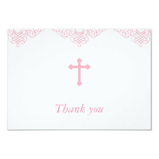 Pink Girls Baptism/Christening Thank You Card