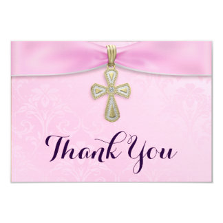 Pink Girls Baptism Christening Thank You Card