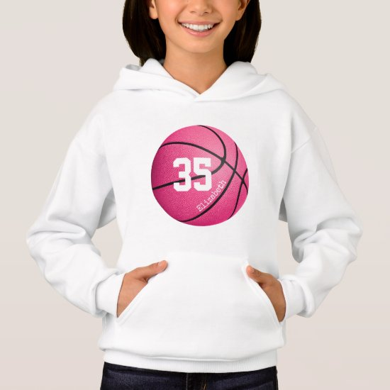 pink girls' basketball personalized hoodie