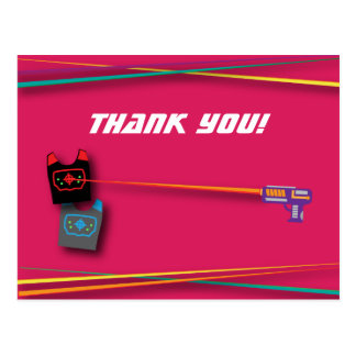 Pink Girl's Laser Tag Birthday Party Thank You Postcard