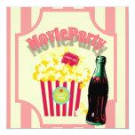 "Pink Girls Movie Birthday Party Invitation 5.25"" Square Invitation Card"