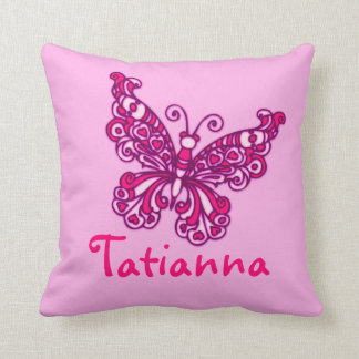 Pink girls named 8 letter butterfly cushion pillow