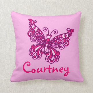 Pink girls named butterfly cushion pillow
