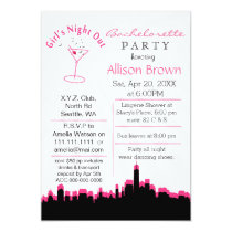 pink girls night out in city Bachelorette Party Card