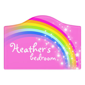 Pink girls personalized rainbow door sign. Name Door Signs   Zazzle