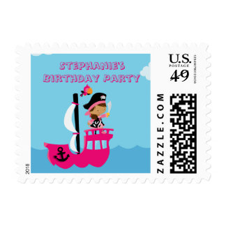 Pink girl's pirate birthday party postage stamp