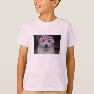 pink girl's T-shirt with picture of cute dog