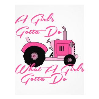 Pink Girls Tractor Letterhead