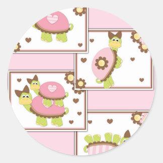 Pink Girls Turtle Classic Round Sticker
