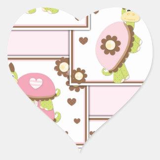 Pink Girls Turtle Heart Sticker
