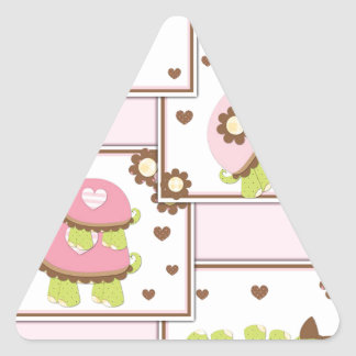 Pink Girls Turtle Triangle Sticker