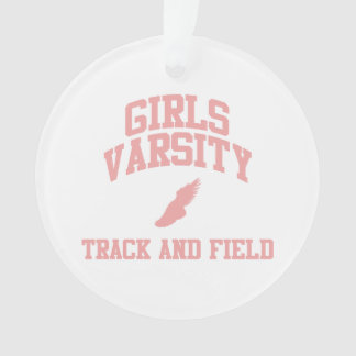 Pink Girls Varsity Track and Field Ornament