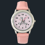 "Pink girls watch | personalized letter monogram<br><div class=""desc"">Pink girls watch 