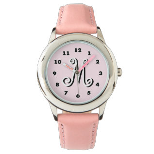 Pink Girls Watch | Personalized Letter Monogram at Zazzle