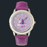 """Pink girl's watch with cute unicorn & custom name<br><div class=""""desc"""">Pink girl's watch with cute unicorn horse and custom name. Personalized wrist watch for little children. Add your own name,  monogram or quote. letter monogram. Girly design with stars. Also nice as Birthday or Christmas Holiday gift for daughter,  granddaughter,  niece,  cousin,  grandchild,  friend,  stepdaughter etc.</div>"""