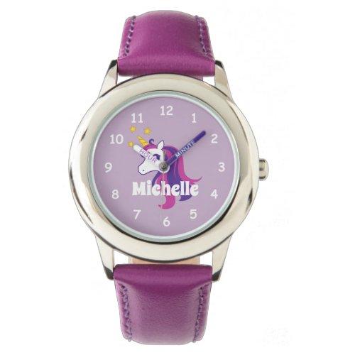 Pink girl's watch with cute unicorn & custom name