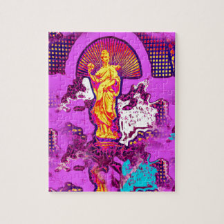 Pink girly abstract decorative statue design jigsaw puzzle