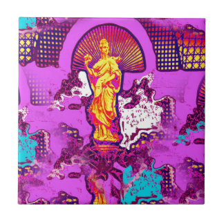 Pink girly abstract decorative statue design small square tile