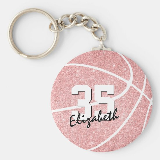 pink girly basketball keychain w jersey number