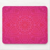 Pink Girly Boho Flower Design Mouse Pad