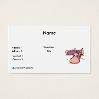 pink girly bowling shoes graphic business card
