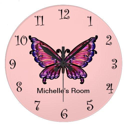 Pink Girly Butterfly Clocks