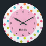 """Pink Girly Clocks<br><div class=""""desc"""">Pink girly clock with colorful polka dots the clock face in this decorative wall decor clock design a girls room,  baby girl,  or clock for a college dorm room. Colors include green,  pink,  blue,  purple,  white.</div>"""