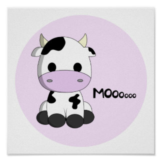 Pink girly cute cow cartoon kids poster