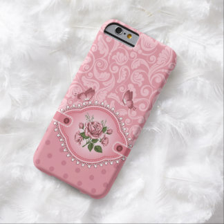 Pink Girly Cute Dots Damask Pattern Rose Barely There iPhone 6 Case