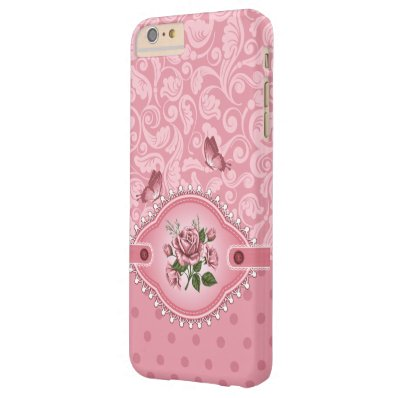Pink Girly Cute Dots Damask Pattern Rose Barely There iPhone 6 Plus Case