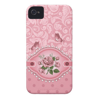 Pink Girly Cute Dots Damask Pattern Rose Blackberr Case-Mate iPhone 4 Case
