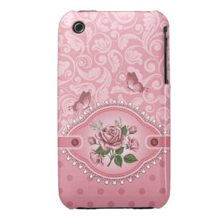Pink Girly Cute Dots Damask Pattern Rose iPhone 3 iPhone 3 Covers