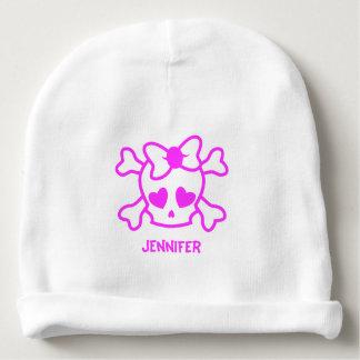 Pink girly emo skull bow name baby girl beanie