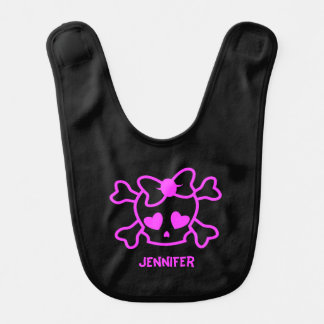 Pink girly emo skull with bow black name baby girl bib