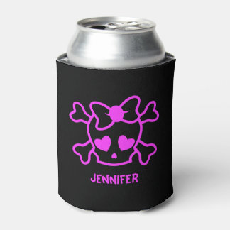 Pink girly emo skull with bow can cooler