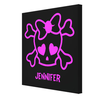 Pink girly emo skull with bow canvas print