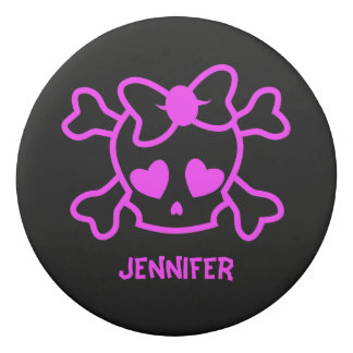 Pink girly emo skull with bow eraser