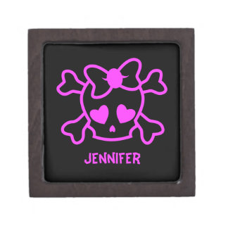 Pink girly emo skull with bow gift box