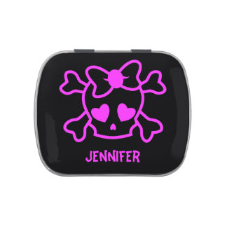 Pink girly emo skull with bow jelly belly candy tins