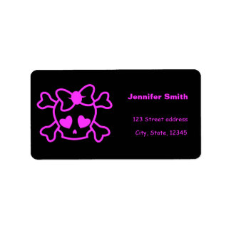 Pink girly emo skull with bow label